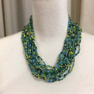 Jewelry - MULTI COLORED GREEN BEADED NECKLACE NWOT